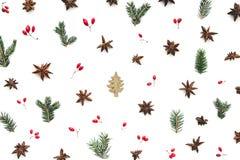 Σχέδιο Χριστουγέννων με χρωματισμένο το χρυσός χριστουγεννιάτικο δέντρο και το φυσικό Ο στοκ εικόνες