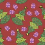 σχέδιο χριστουγεννιάτικων δέντρων στο κόκκινο Στοκ φωτογραφίες με δικαίωμα ελεύθερης χρήσης