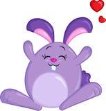 Σχέδιο χρώματος Kawaii ενός κουνελιού λαγουδάκι, με τις καρδιές, για το βιβλίο των παιδιών, Πάσχα ή την κάρτα του βαλεντίνου διανυσματική απεικόνιση