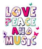 """σχέδιο """"αγάπης, ειρήνης και μουσικής """", τυπωμένη ύλη μπλουζών παιδιών διανυσματική απεικόνιση"""
