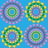 Σχέδιο Mandalas άνευ ραφής στο μπλε διανυσματική απεικόνιση