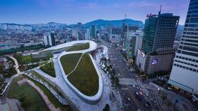 Σχέδιο Plaza, νέα ανάπτυξη Dongdaemun στη Σεούλ, που σχεδιάζεται από Zaha Hadid απόθεμα βίντεο