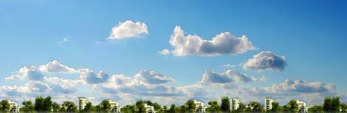 Σχέδιο Watercolor Εικονική παράσταση πόλης και ουρανός στοκ εικόνα με δικαίωμα ελεύθερης χρήσης