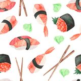 σχέδιο watercolor με τα ιαπωνικά σούσια τροφίμων ελεύθερη απεικόνιση δικαιώματος