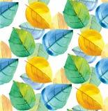 Σχέδιο Watercolor με τα φύλλα Στοκ εικόνες με δικαίωμα ελεύθερης χρήσης