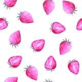 Σχέδιο Watercolor με τις γλυκές φράουλες διανυσματική απεικόνιση