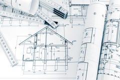 Σχέδια εφαρμοσμένης μηχανικής της ανακαίνισης και του διπλώματος σπιτιών του κυβερνήτη στο archi Στοκ Φωτογραφίες