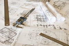 Σχέδια και μέτρηση των εργαλείων Στοκ Φωτογραφίες