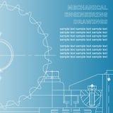Σχέδια μηχανολόγου μηχανικού σε ένα μπλε υπόβαθρο Στοκ Εικόνες