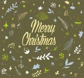 Σχέδια ταπετσαριών Χριστουγέννων, χέρι που σύρεται, τρύγος Απεικόνιση αποθεμάτων