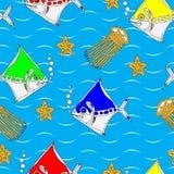 Σχέδιο άνευ ραφής με τα τυποποιημένα ζώα θάλασσας ελεύθερη απεικόνιση δικαιώματος