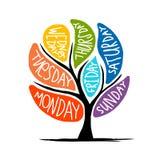 Σχέδιο δέντρων τέχνης με τις ημέρες 7petal της εβδομάδας ελεύθερη απεικόνιση δικαιώματος