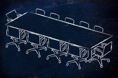 Σχέδιο αιθουσών συνεδριάσεων ή δωματίων πινάκων Στοκ Φωτογραφία