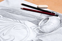Σχέδιο ακόμα της ζωής από το από γραφίτη μολύβι Στοκ Εικόνα