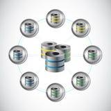 Σχέδιο απεικόνισης κύκλων δικτύων κεντρικών υπολογιστών Στοκ εικόνα με δικαίωμα ελεύθερης χρήσης