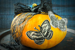 Σχέδιο αποκριών Κορδέλλα και πεταλούδα του μαύρου εγγράφου για το pum Στοκ Εικόνες