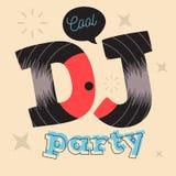 Σχέδιο αφισών κόμματος του DJ με τη βινυλίου απεικόνιση αρχείων Διανυσματικό γ Στοκ εικόνες με δικαίωμα ελεύθερης χρήσης