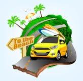 Σχέδιο αφισών περιπετειών θερινού σερφ με το κίτρινο αυτοκίνητο διανυσματική απεικόνιση