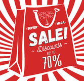 Σχέδιο αφισών πώλησης Διανυσματικό σχεδιάγραμμα Τσάντα της κόκκινης και Λευκής Βίβλου με την άσπρη θέση περιγράμματος και κειμένω Στοκ Εικόνες