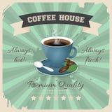 Σχέδιο αφισών σπιτιών καφέ με το φλιτζάνι του καφέ στο αναδρομικό ύφος Στοκ εικόνες με δικαίωμα ελεύθερης χρήσης