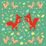 Σχέδιο αλεπούδων σκούρο πράσινο απεικόνιση αποθεμάτων