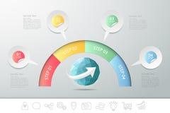 Σχέδιο 4 βήματα infographic για την έννοια businuss Στοκ Εικόνες