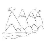 Σχέδιο βουνών και πουλιών Στοκ εικόνες με δικαίωμα ελεύθερης χρήσης