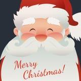 Σχέδιο για τη ευχετήρια κάρτα, την αφίσα, το έμβλημα ή το ιπτάμενο με Άγιο Βασίλη και το κείμενο Χαρούμενα Χριστούγεννας στο σκοτ Στοκ Φωτογραφία