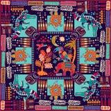 Σχέδιο για το σάλι, κάρτα, κλωστοϋφαντουργικό προϊόν Ζωηρόχρωμη απεικόνιση με τα διακοσμητικά ζώα και τα γεωμετρικά στοιχεία Ινδι Στοκ φωτογραφία με δικαίωμα ελεύθερης χρήσης