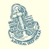 Σχέδιο γραμμάτων Τ ναυτικών αγκύρων Στοκ φωτογραφία με δικαίωμα ελεύθερης χρήσης