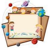 Σχέδιο εγγράφου με τα παιδιά και τους πλανήτες ελεύθερη απεικόνιση δικαιώματος