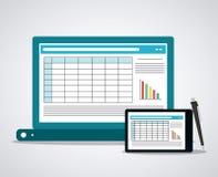 Σχέδιο εικονιδίων υπολογισμών με λογιστικό φύλλο (spreadsheet) ελεύθερη απεικόνιση δικαιώματος