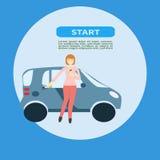 Σχέδιο εμβλημάτων Ιστού για το αυτοκίνητο που μοιράζεται την περιοχή ή τη διαφήμιση Διανυσματικό υπόβαθρο αγγελιών του αυτοκινήτο Στοκ Φωτογραφία