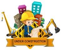 Σχέδιο εμβλημάτων με τους μηχανικούς και το εργοτάξιο οικοδομής Στοκ φωτογραφία με δικαίωμα ελεύθερης χρήσης