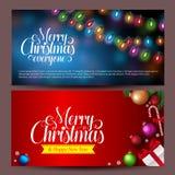 Σχέδιο εμβλημάτων Χριστουγέννων για την κάρτα χαιρετισμών σε ζωηρόχρωμο και το υπόβαθρο Στοκ Εικόνες