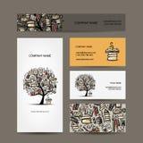 Σχέδιο επαγγελματικών καρτών με το δέντρο βιβλίων Στοκ Εικόνες