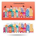 Σχέδιο επικοινωνιών κτηρίων πόλεων - διάνυσμα Στοκ Εικόνα