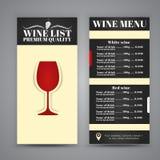 Σχέδιο επιλογών για τους καφέδες κρασιού, εστιατόρια Στοκ Φωτογραφία