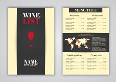 Σχέδιο επιλογών για τους καφέδες κρασιού, εστιατόρια Στοκ Εικόνες