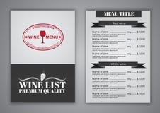Σχέδιο επιλογών για τους καφέδες κρασιού, εστιατόρια Στοκ φωτογραφία με δικαίωμα ελεύθερης χρήσης