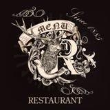 Σχέδιο επιλογών για το εστιατόριο στο βασιλικό ύφος με συρμένα τα χέρι ελάφια, Στοκ Εικόνα