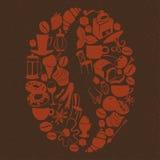 Σχέδιο επιδορπίων μορφής φασολιών καφέ με τα αντικείμενα καφέδων και τροφίμων ΛΦ Στοκ Εικόνες