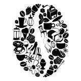Σχέδιο επιδορπίων μορφής φασολιών καφέ με τα αντικείμενα καφέδων και τροφίμων ΛΦ Στοκ φωτογραφία με δικαίωμα ελεύθερης χρήσης