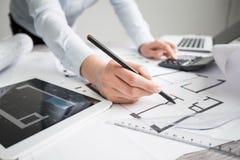 Σχέδιο εργασίας σχεδιαγραμμάτων προγράμματος σχεδίων αρχιτεκτονικής αρχιτεκτόνων Στοκ Φωτογραφίες