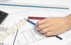 Σχέδιο εργασίας χεριών Στοκ εικόνα με δικαίωμα ελεύθερης χρήσης