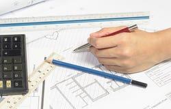 Σχέδιο εργασίας χεριών Στοκ εικόνες με δικαίωμα ελεύθερης χρήσης