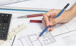 Σχέδιο εργασίας χεριών Στοκ φωτογραφίες με δικαίωμα ελεύθερης χρήσης