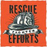 Σχέδιο ετικετών μπλουζών πυροσβεστών με την απεικόνιση του κράνους με τους διασχισμένους άξονες Στοκ Εικόνα