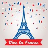 Σχέδιο ευχετήριων καρτών για το Bastille ημέρα στις 14 Ιουλίου ή μια άλλες γαλλικές διακοπές απεικόνιση αποθεμάτων