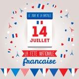 Σχέδιο ευχετήριων καρτών για το Bastille ημέρα στις 14 Ιουλίου διανυσματική απεικόνιση